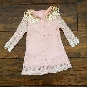 Pink gold Sequin Lace dress
